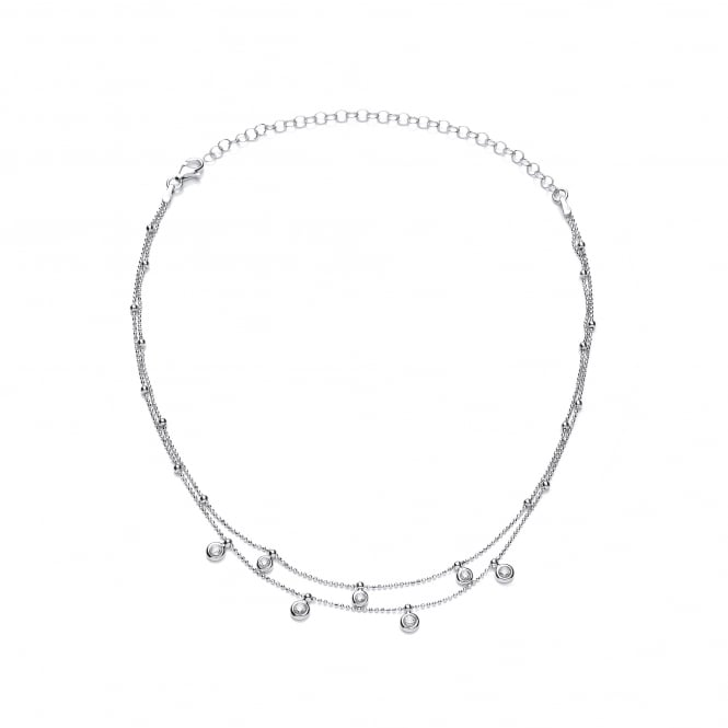David Deyong Sterling Silver Double Ball Chain & CZ Charms Choker Necklace