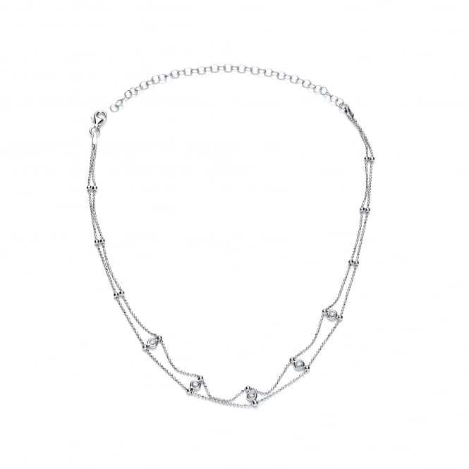 David Deyong Sterling Silver Double Chain & CZ Choker Necklace