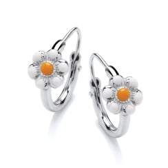 Sterling Silver Enamel Daisy Children's Hoop Earrings