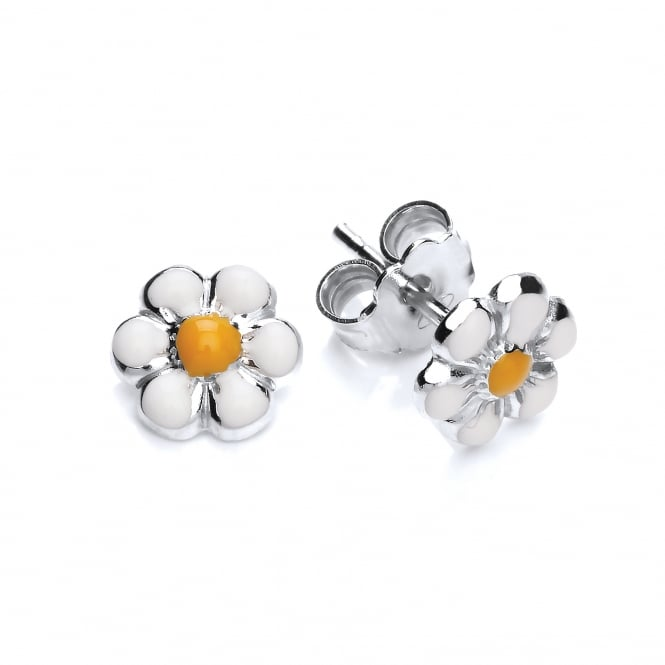 David Deyong Sterling Silver Enamel Daisy Stud Earrings