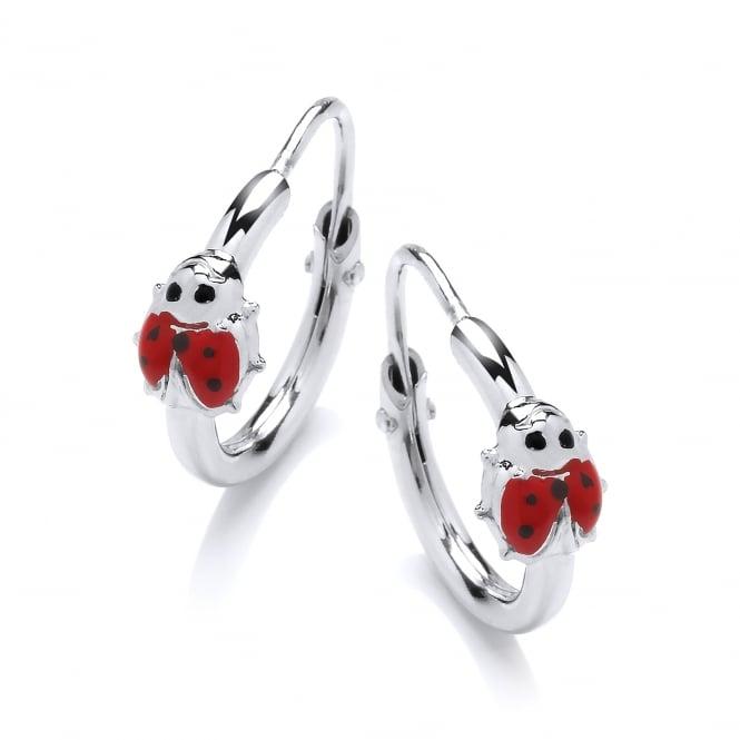 David Deyong Sterling Silver Enamel Ladybug Children's Hoop Earrings