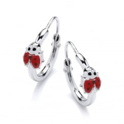 Sterling Silver Enamel Ladybug Children's Hoop Earrings