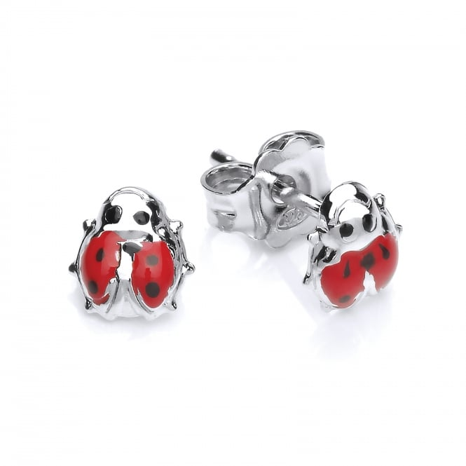 David Deyong Sterling Silver Enamel Ladybug Stud Earrings