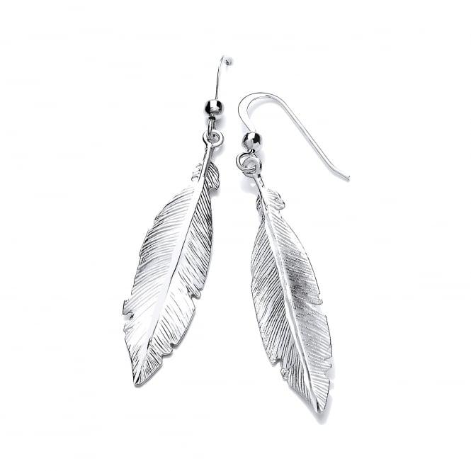 David Deyong Sterling Silver Feather Drop Earrings