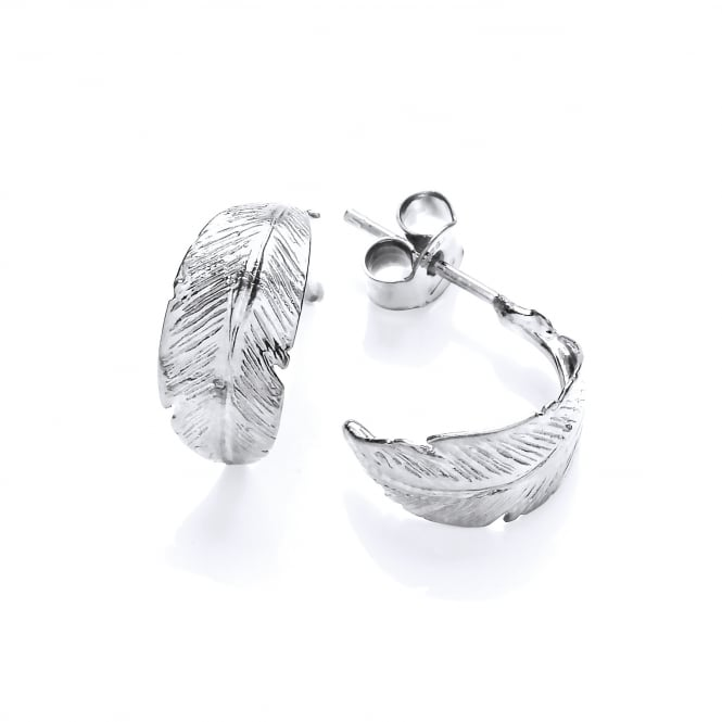 David Deyong Sterling Silver Feather Half Hoop Earrings