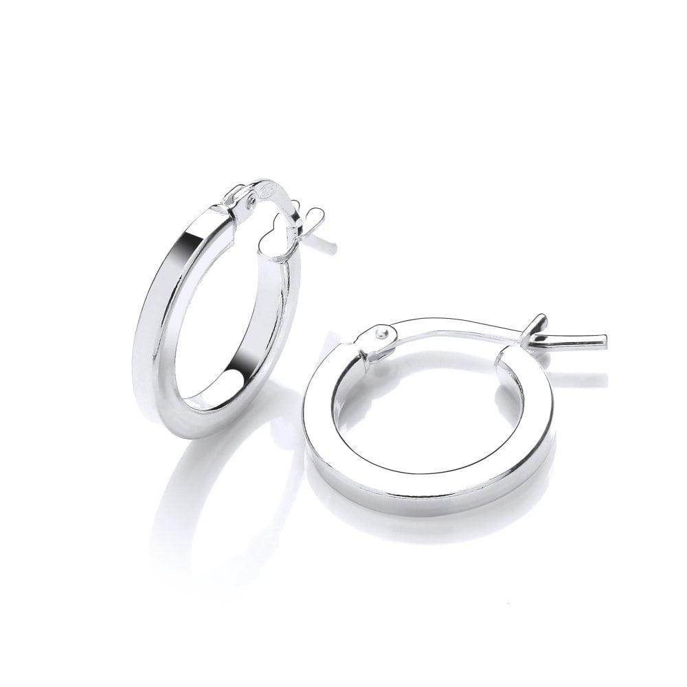 5ad4d9d55ee1d0 Sterling Silver Fine 14mm Hinged Hoop Earrings by David Deyong