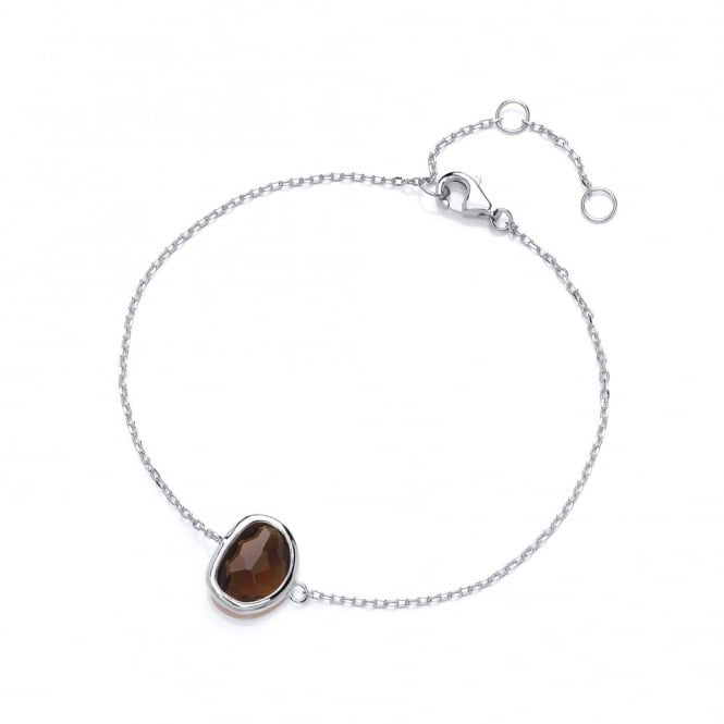 David Deyong Sterling Silver Fine Chain with Brown Faceted Crystal Bracelet