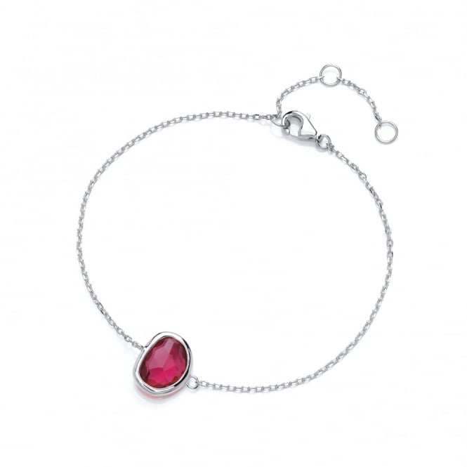 David Deyong Sterling Silver Fine Chain with Fuchsia Faceted Crystal Bracelet