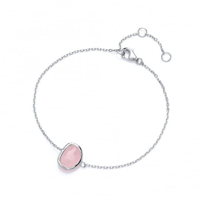 David Deyong Sterling Silver Fine Chain with Rose Faceted Crystal Bracelet