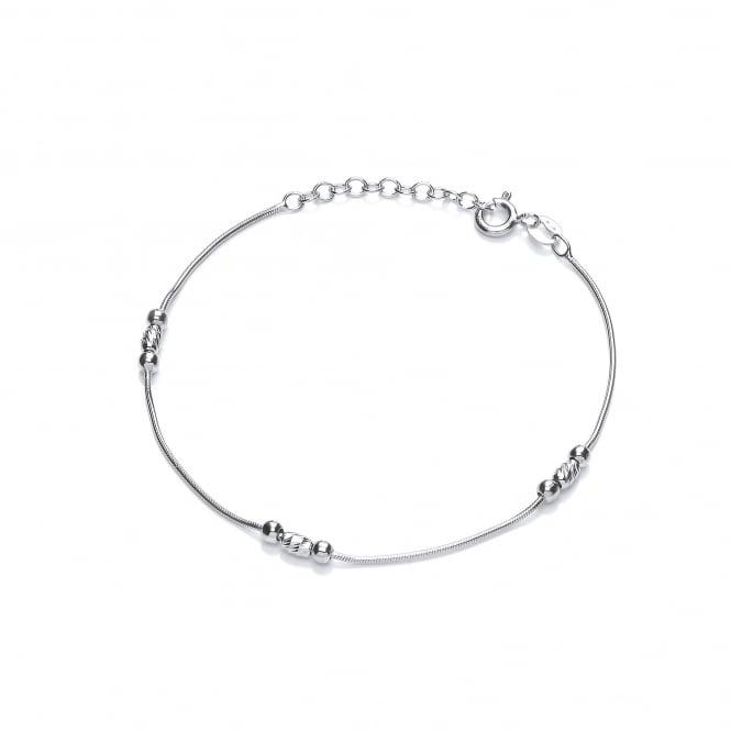 David Deyong Sterling Silver Fine Snake Chain Bead Bracelet