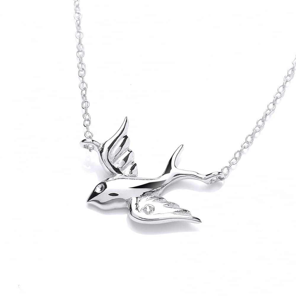 b41849a51a3c09 Sterling Silver Flying Bird Necklace by David Deyong