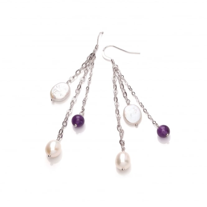 David Deyong Sterling Silver Freshwater Pearl & Amethyst Triple Chain Drop Earrings