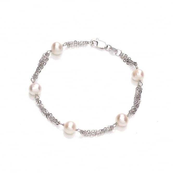 David Deyong Sterling Silver & Freshwater Pearl Multi Chain Bracelet