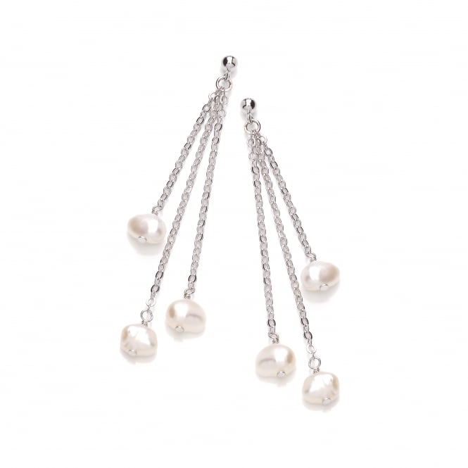 David Deyong Sterling Silver & Freshwater Pearl Triple Chain Drop Earrings
