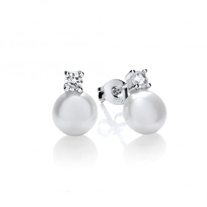 David Deyong Sterling Silver Freshwater Pearl with Claw Set Cubic Zirconia Stud Earrings