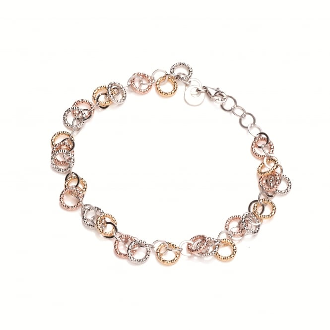 David Deyong Sterling Silver & Gold Plated Diamond Cut Circles Bracelet