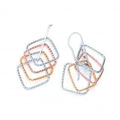 Sterling Silver & Gold Plated Diamond Cut Geometric Drop Earrings