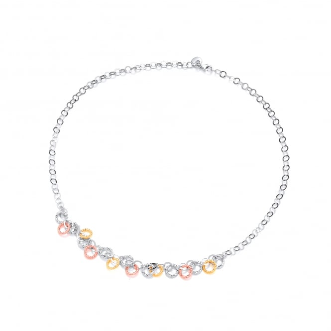 David Deyong Sterling Silver Gold Plated Diamond Cut Multi Circle Necklace