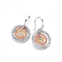 Sterling Silver & Gold Plated Diamond Cut Triple Hoop Earrings