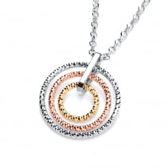 Sterling Silver & Gold Plated Diamond Cut Triple Hoops Necklace