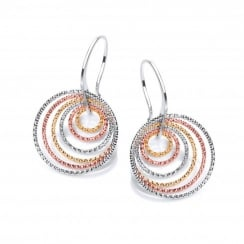 Sterling Silver Gold Plated Multi Hoop On Hooks Earrings