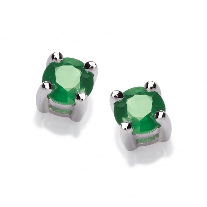 David Deyong Sterling Silver Green Emerald Stud Earrings