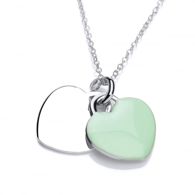 David Deyong Sterling Silver & Green Enamel Double Heart Necklace