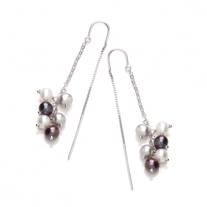 David Deyong Sterling Silver Grey Peacock & White Pearl Cluster Thread Through Earrings