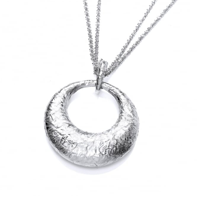 David Deyong Sterling Silver Hammered Round Pendant & Chain