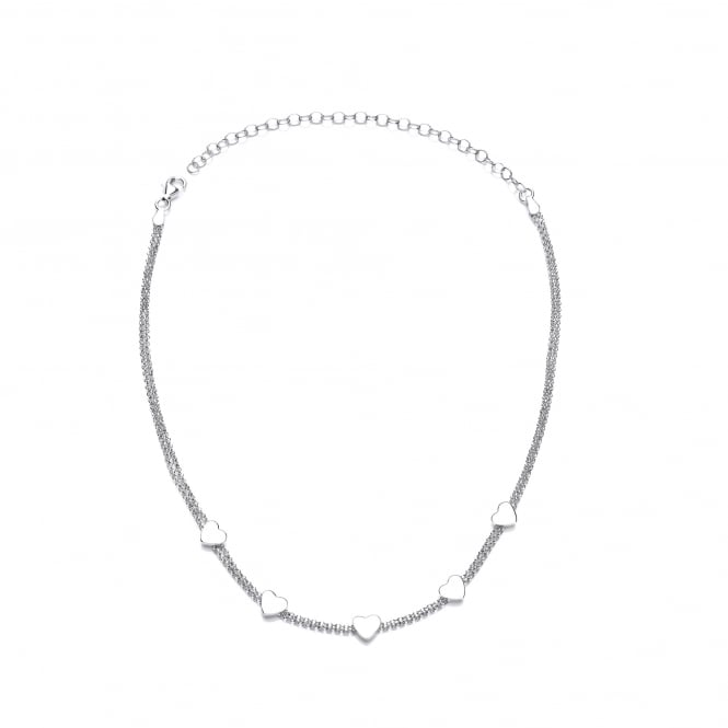 David Deyong Sterling Silver Heart Choker Necklace