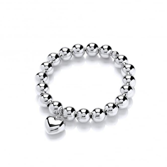 David Deyong Sterling Silver Heart Elastic Ball Bracelet
