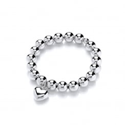 Sterling Silver Heart Elastic Ball Bracelet