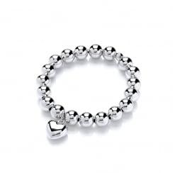 Sterling Silver Heart Elastic Ball Bracelet