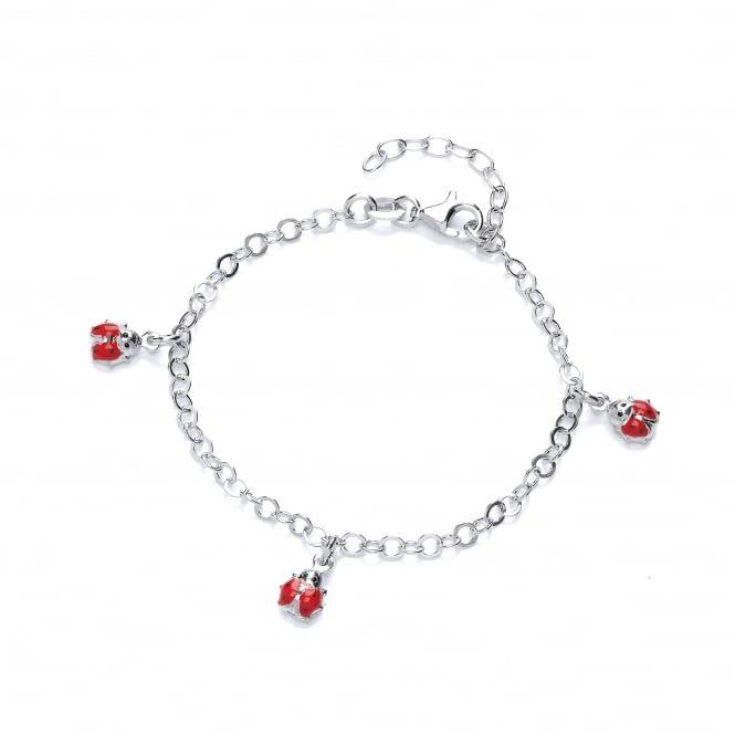David Deyong Sterling Silver Ladybug Children's Enamel Charm Bracelet