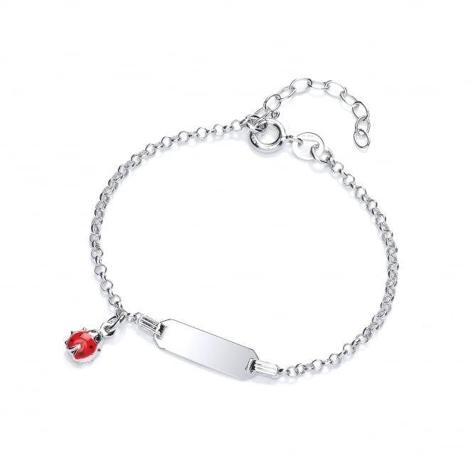 David Deyong Sterling Silver Ladybug Children's Enamel ID Bracelet