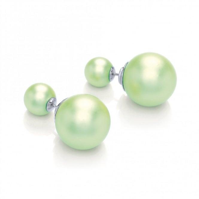 David Deyong Sterling Silver Lime Matt Shell Double Sided Stud Earrings