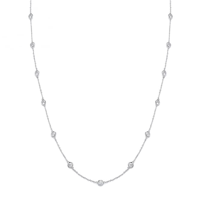 David Deyong Sterling Silver Long Chain and Cubic Zirconia Necklace