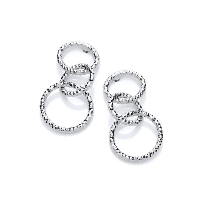 David Deyong Sterling Silver Mini Diamond Cut Drop Earrings