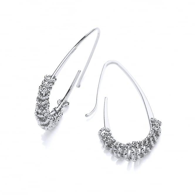 David Deyong Sterling Silver Oblong Diamond Cut Hoop Earrings