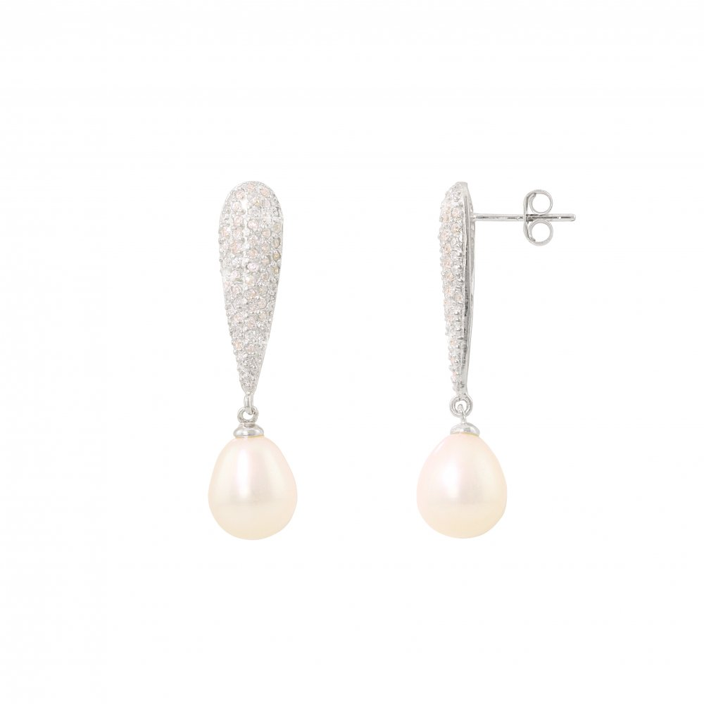 sterling silver pave set cubic zirconia pearl earrings