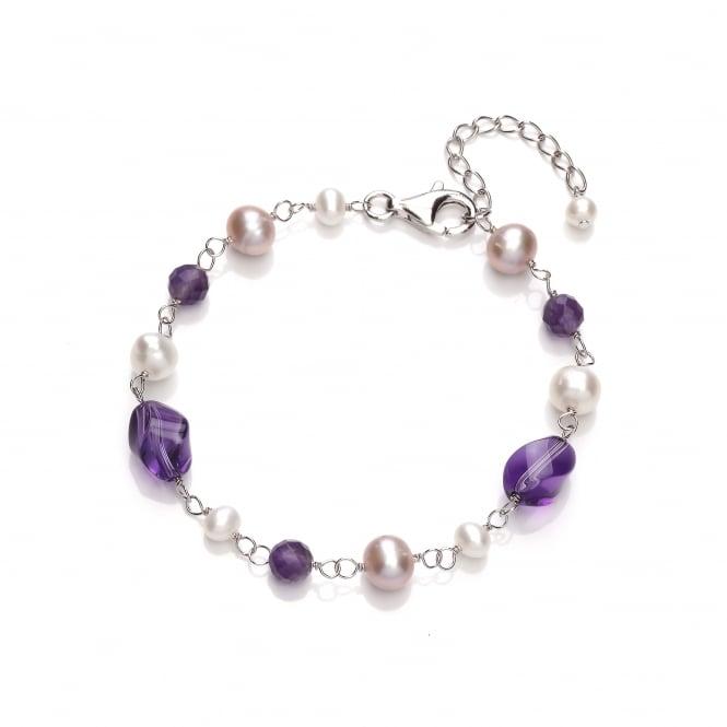 David Deyong Sterling Silver Pearl & Amethyst Bracelet