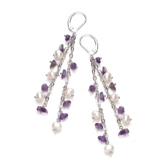 David Deyong Sterling Silver Pearl & Amethyst Double Drop Earrings