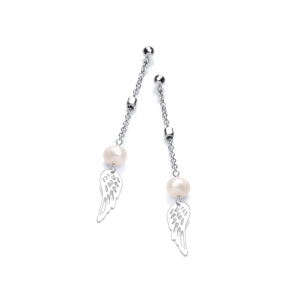 4b5508f0a Sterling Silver & Pearl Angel's Wing Drop Earrings by David Deyong