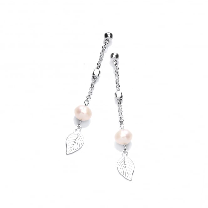 David Deyong Sterling Silver & Pearl Leaf Drop Earrings