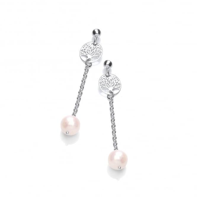 David Deyong Sterling Silver & Pearl Tree of Life Drop Earrings