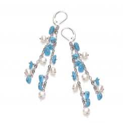 Sterling Silver Pearl & Turquoise Double Drop Earrings