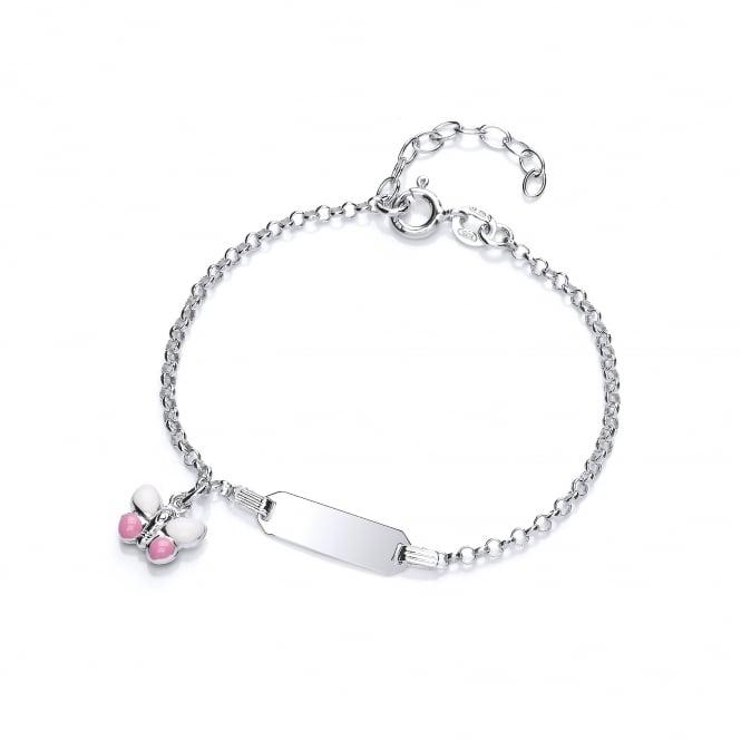 David Deyong Sterling Silver Pink Butterfly Children's Enamel ID Bracelet