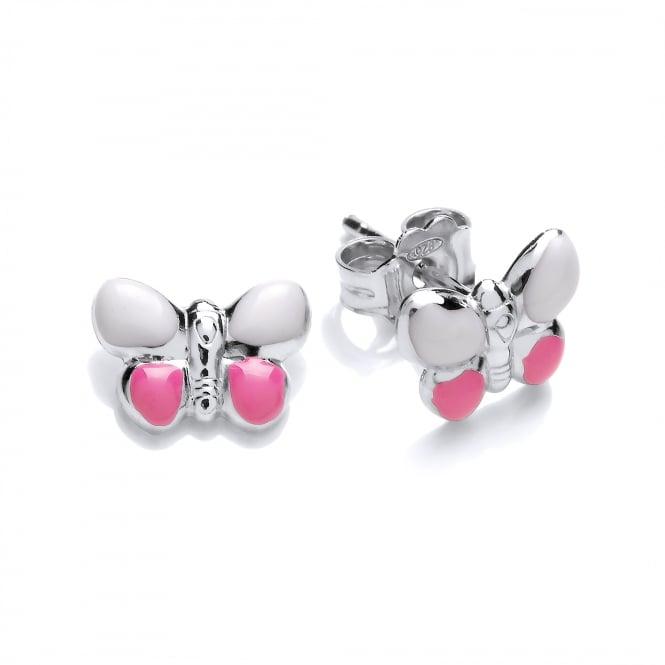 David Deyong Sterling Silver Pink Butterfly Enamel Children's Stud Earrings