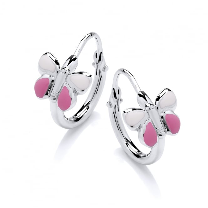 David Deyong Sterling Silver Pink Enamel Butterfly Children's Hoop Earrings