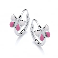 Sterling Silver Pink Enamel Butterfly Children's Hoop Earrings